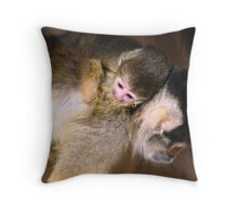 Squirrel Monkey and Baby Throw Pillow