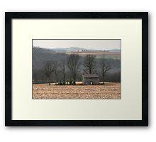 Cold Rain On The Forgotten Farmhouse Framed Print
