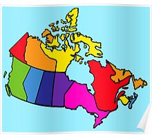 Rainbow Canada Map Poster