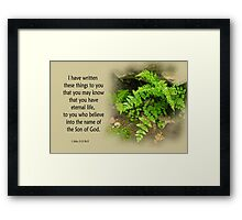 That You May Know ~ 1 John 5:13 Framed Print