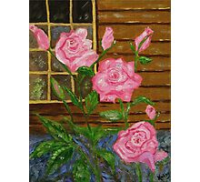 Royal Roses, pink flowers, impressionism art Photographic Print