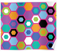 Multi-Color Hexagons Poster