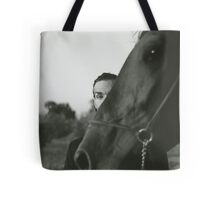 Man and horse black and white analog silver gelatin photo Tote Bag