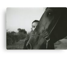 Man and horse black and white analog silver gelatin photo Canvas Print