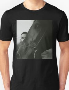 Man and horse black and white analog silver gelatin photo T-Shirt