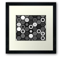 Black and White Hexagons Framed Print
