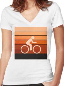 Biking Orange Women's Fitted V-Neck T-Shirt
