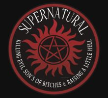 Supernatural  Killing evil son bitches raising a little hell  Ring Patch  by ratherkool