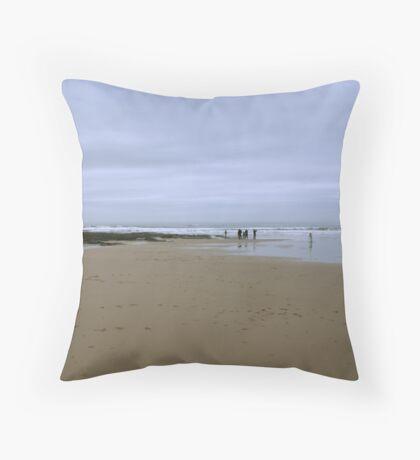 Beach at Bamburgh, Northumberland Throw Pillow