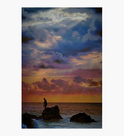 Fisherman on the Rocks Photographic Print