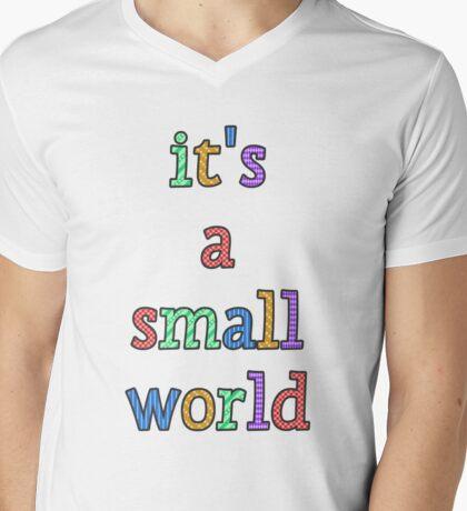 """it's a small world"" fun font Mens V-Neck T-Shirt"