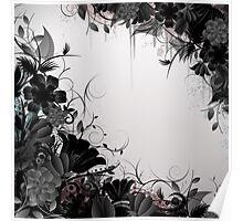 Grunge Flower Frame Poster