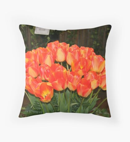 """Orange Tulips"" Throw Pillow"