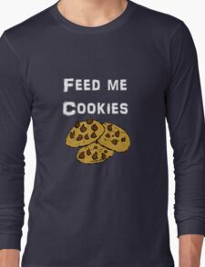Iskybibblle Products / Feed me Cookies/ White Long Sleeve T-Shirt