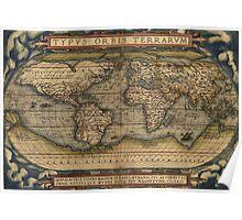 Ortelius World Map - 1564 AD Poster