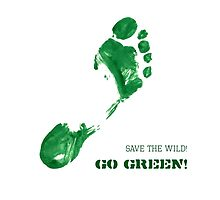 Green Painted Foot Imprint with Ecological Slogan by amovitania
