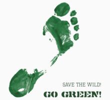 Green Painted Foot Imprint with Ecological Slogan Kids Clothes