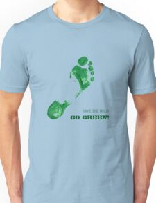 Green Painted Foot Imprint with Ecological Slogan Unisex T-Shirt
