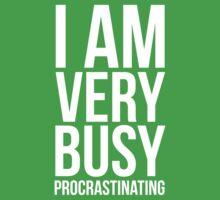 I am very busy (procrastinating) - White One Piece - Short Sleeve