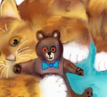 Kitty Hugs Teddy Bear Sticker