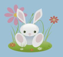 Little Blue Baby Bunny With Flowers Kids Tee