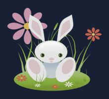 Little Blue Baby Bunny With Flowers Baby Tee