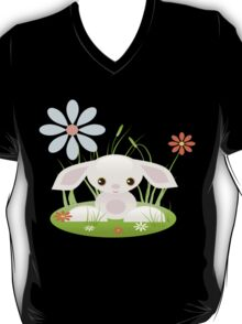 Little Pink Baby Bunny With Flowers T-Shirt