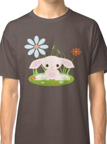 Little Pink Baby Bunny With Flowers Classic T-Shirt
