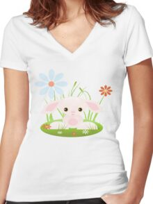 Little Pink Baby Bunny With Flowers Women's Fitted V-Neck T-Shirt