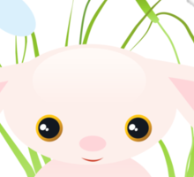 Little Pink Baby Bunny With Flowers Sticker