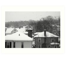 Snowy Buildings Art Print