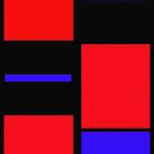 ABSTRACT RED BLACK BLUE  by scarletjames