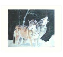 Alpha wolves rest before the hunt Art Print