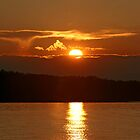 Sunset Fire Over Caddy Lake by Vickie Emms