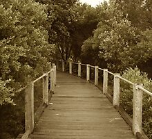 Sepia Beach Boardwalk by becSamways