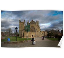 Exeter City Centre: Exeter Cathedral Stormy Day UK Poster