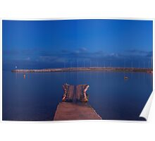 Blue hour over the Mediterranean sea Poster
