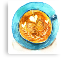 hearts and coffee Canvas Print