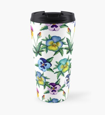 Pansy white pattern Travel Mug