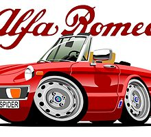 Alfa Romeo Spider red caricature by car2oonz