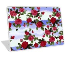 Red Roses on Blue Watercolor  Laptop Skin