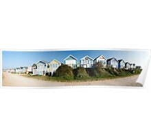 Panoramic view of beach huts in Dorset, England Poster