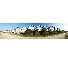 Panoramic view of beach huts in Dorset, England Photographic Print