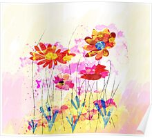 Colorful pink flowers, watercolor Poster