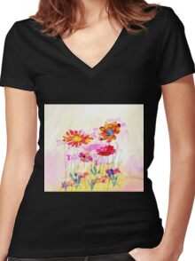 Colorful pink flowers, watercolor Women's Fitted V-Neck T-Shirt