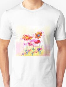 Colorful pink flowers, watercolor Unisex T-Shirt