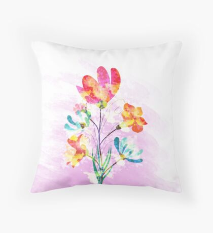 Poppy flowers, watercolor background Throw Pillow