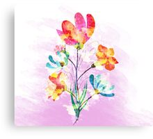 Poppy flowers, watercolor background Canvas Print