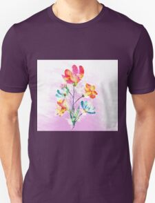 Poppy flowers, watercolor background Unisex T-Shirt