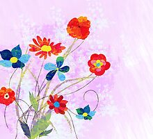 Scenic watercolor background, floral composition by ngocdai86